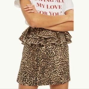 NWT Topshop Leopard Peplum Skirt